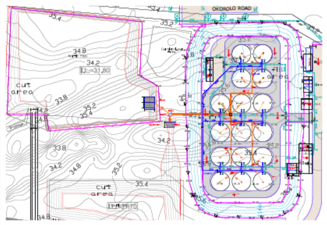 Layout of the pumping station, Grow Out & 1st. nursery tanks