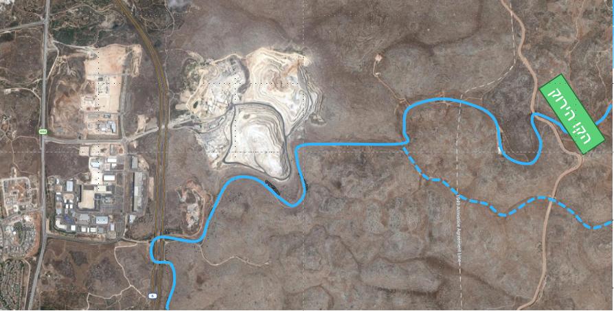 פיתול בנחל בית עריף בהיקף שטח החציבה במחצבת מודיעים